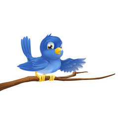 Bluebird sitting on branch pointing vector
