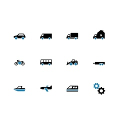 Cars duotone icons on white background vector