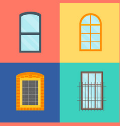 cartoon windows set on a color background vector image