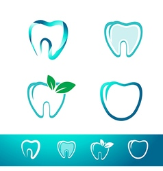 Dental Tooth Logo Set vector image vector image