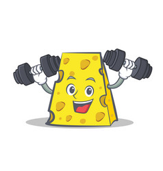Fitness cheese character cartoon style vector