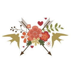 Floral festive design with birds vector image vector image