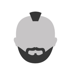 Grayscale criminal man face icon vector