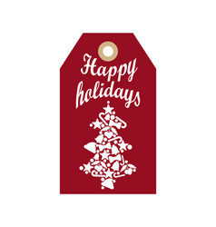 happy holidays promo label with silhouette of tree vector image vector image