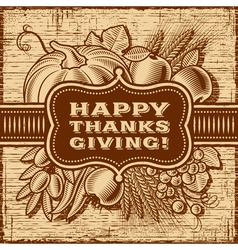 Happy Thanksgiving Retro Card Brown vector image