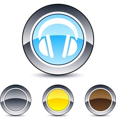 headphones round button vector image vector image