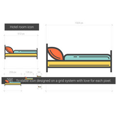 Hotel room line icon vector
