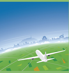ljubljana skyline flight destination vector image