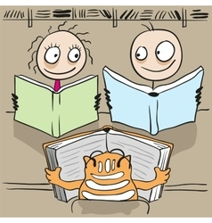 Man woman and cat reading book in library vector