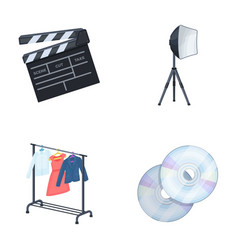 movies discs and other equipment for the cinema vector image vector image