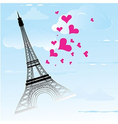 Paris town in france card as symbol love vector
