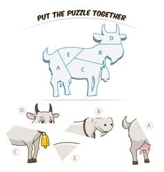 Puzzle game for chldren goat vector