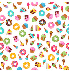 seamless pattern of sweets dessert on white vector image