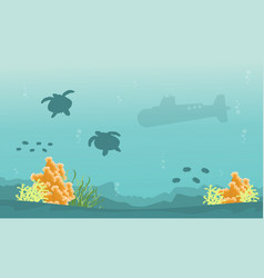 Silhouette of turtle and submarine landscape vector