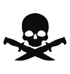 Skull and 2 crossed knifes black emblem vector image