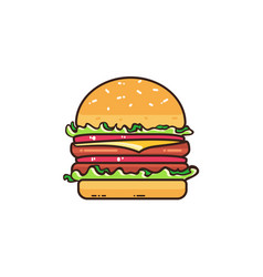 Tasty burger isolated on white vector