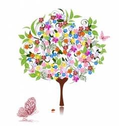 tree with flowers vector image vector image