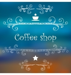 Vintage coffee shop card with monograms and vector