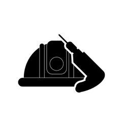 Helmet and drill icon vector