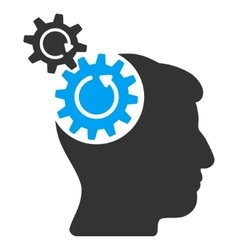Head cogs rotation flat icon vector