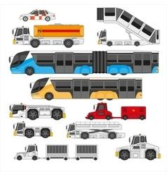 Airport ifrastructure transportation flat set vector