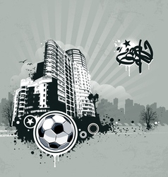 Grunge urban soccer background vector