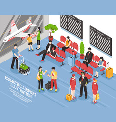 Airport departure lounge isometric poster vector