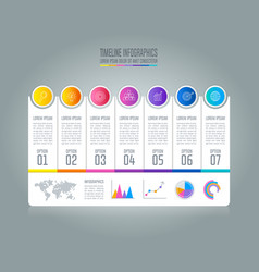 Timeline infographic business concept with 7 vector