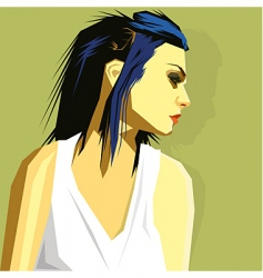 Blue hair vector