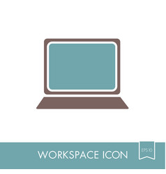 Laptop outline icon workspace sign vector