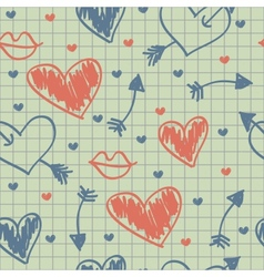 Abstract seamless pattern hearts on a paper vector