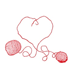 Two Red Clews in Heart Form vector image