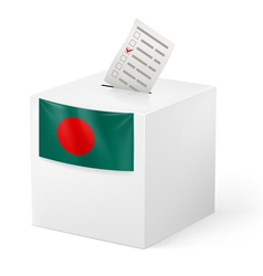 Ballot box with voting paper bangladesh vector