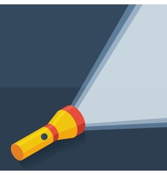 Yellow flashlight in flat style on dark background vector