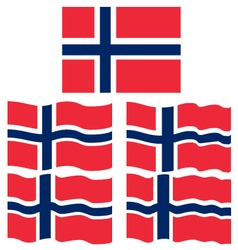 Flat and waving flag of norway vector