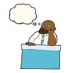 Cartoon bored man at desk with thought bubble vector