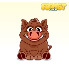 Cute Cartoon Wild Boar Funny Animal vector image