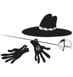 Black hat with gloves and epee vector