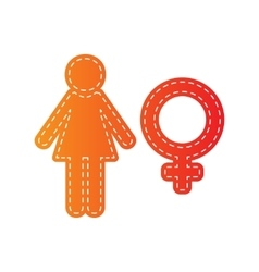Female sign  orange applique isolated vector
