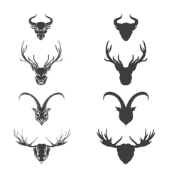 Animals horned head silhouette vector