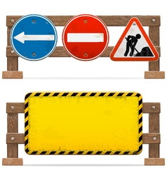 Barriers with road signs vector