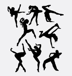 Beautiful dancer performing silhouette vector
