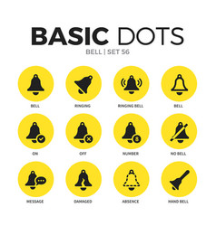 bell flat icons set vector image vector image