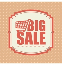 big sale shop cart polka dot vintage vector image
