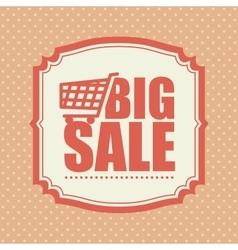 Big sale shop cart polka dot vintage vector