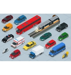 Car icons Flat 3d isometric high quality city vector image vector image