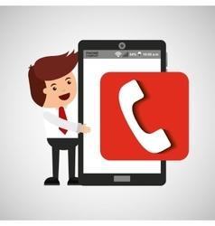 Cartoon man smartphone app telephone vector