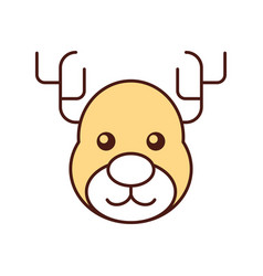 christmas reindeer animal horned funny vector image