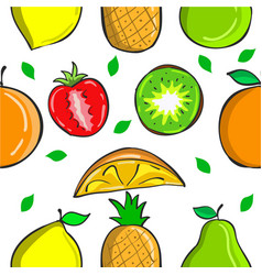 collection fruit fresh pattern style vector image