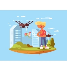 Delivery using quadrocopters vector